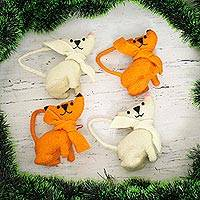 Wool ornaments, 'Crazy Cats' (set of 4)