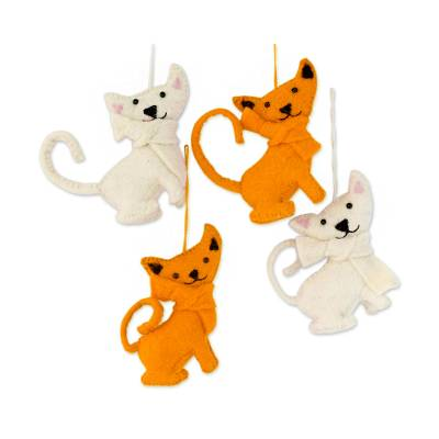 Wool ornaments, 'Crazy Cats' (set of 4) - Set of 4 Handmade Feline Ornaments from India