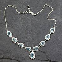 Blue topaz Y necklace, 'Goddess' - Blue Topaz Sterling Silver Y Necklace with Cubic Zirconia