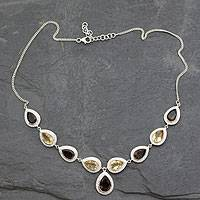 Smoky quartz and citrine Y necklace, 'Goddess' - Smoky Quartz and Citrine Sterling Silver Y Necklace