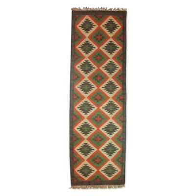 Jute dhurrie rug, 'Desert Oasis' (2.5x7.5) - Hand Woven Jute Indian Dhurrie Runner (2.5x7.5)
