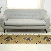 Jute dhurrie rug, 'Desert Dawn' (2.5x8.5) - Handwoven Traditional Jute Dhurrie Rug Runner (2.5 x 8.5)
