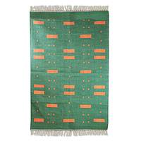 Cotton area rug, 'Green Meadow' (4x6)