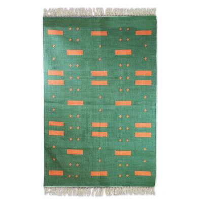 Cotton area rug, 'Green Meadow' (4x6) - Cotton Area Rug in Green with Orange Patterns (4x6)