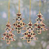 Wood ornaments, 'Floral Pine' (set of 4)