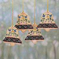 Wood ornaments, 'Blossoming Bells' (set of 4) - 4 Handcrafted Christmas Bell Ornaments with Flower Motifs