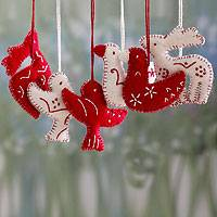 Wool ornaments, 'Christmas Wishes' (set of 6) - White and Red Animal Themed Felt Ornaments (Set of 6)