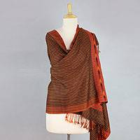 Wool blend shawl, 'Kullu Sunset' - India Handwoven Wool Blend Himachal Pradesh Style Shawl