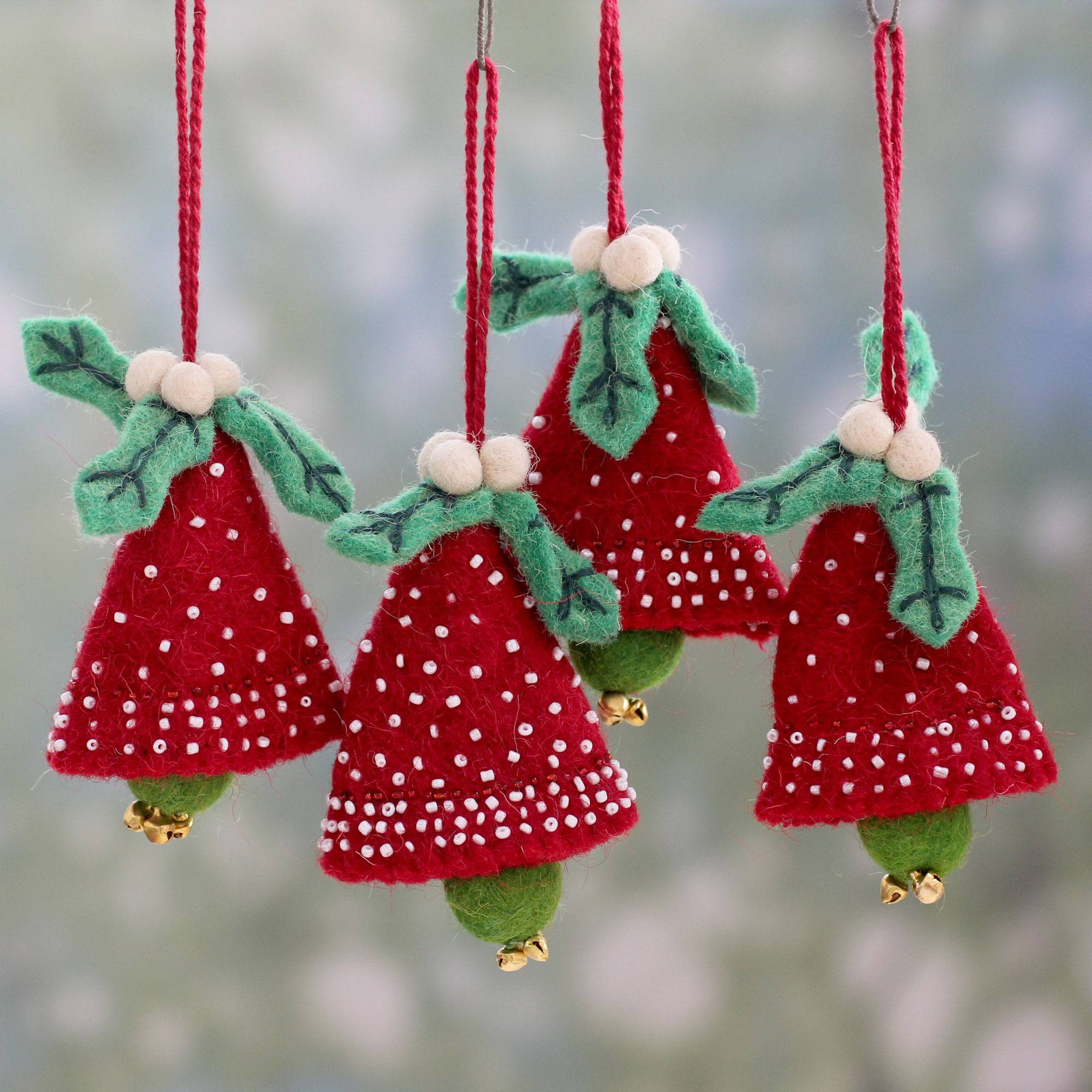 Handmade Red And Green Wool Christmas Ornaments Set Of 4 Red Jingle Bells