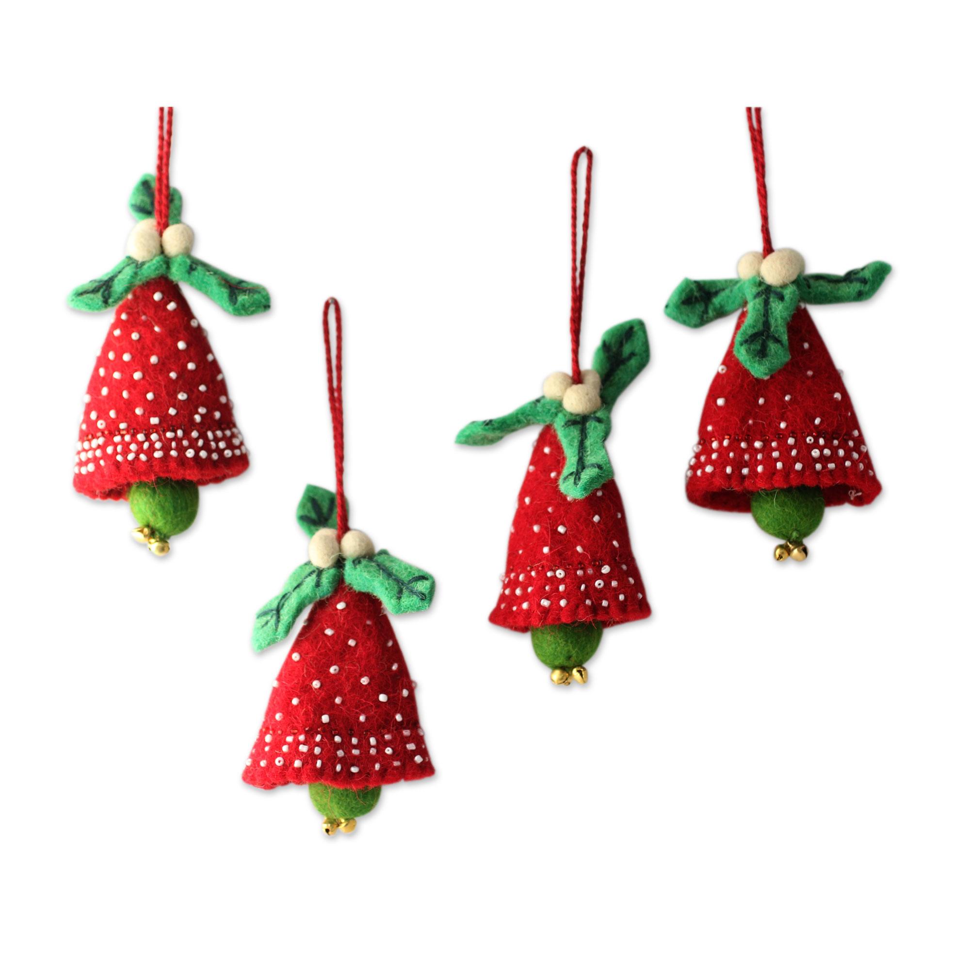 Homemade Christmas Decorations Uk: Handmade Red And Green Wool Christmas
