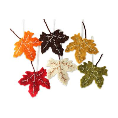 Wool ornaments, 'Maple Glory' (set of 6) - Handcrafted Christmas Leaf Ornaments from India Set of 6