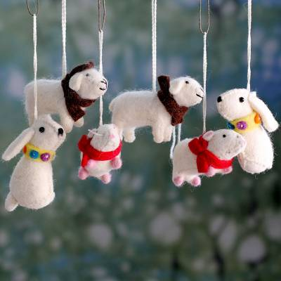 Wool ornaments, 'Furry Pals' (set of 6) - Set of 6 Animal Themed Handmade Wool Tree Ornaments