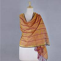 Cotton and silk shawl, 'Maheshwari Glow' - India Handwoven Cotton and Silk Shawl in Yellow and Fuchsia