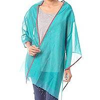 Silk and cotton shawl, 'Indore Meadow' - Indian Loom Woven Green Silk Blend Shawl