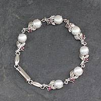 Cultured pearl and ruby link bracelet, 'Nature's Bounty' - Pearl and Ruby Floral Silver Link Bracelet from India