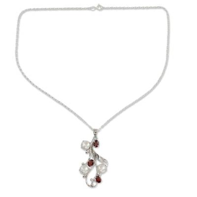 Cultured pearl and garnet pendant necklace 'Dreamy Blossom' - Fair Trade Floral Pearl and Garnet Pendant Necklace