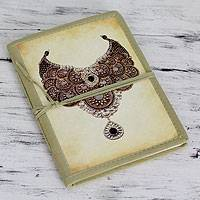 Handmade paper journal, 'Royal Gems' - Indian Journal Sketchbook with Handmade Paper