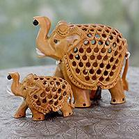 Wood sculptures, 'Elephant Mother and Child' (pair)