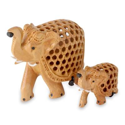 Wood sculptures, 'Elephant Mother and Child' (pair) - Hand Carved Wood Figurine Sculptures from India (pair)