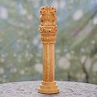 Wood statuette, 'Ashoka Pillar' - Historic Indian Architecture Wood Sculpture Replica