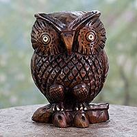 Wood statuette, 'Midnight Owl' - Collectible Hand Carved Wood Figurine Sculpture