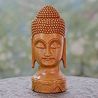 Wood statuette, 'Meditative Buddha' - Vividly Hand Carved Wood Buddha Sculpture from India