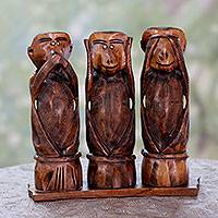 Wood statuette, 'Three Wise Monkeys' (set of 3) - See No Evil Hear No Evil Speak No Evil Wood Statuette Trio