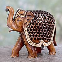 Wood statuette, 'Elephant Time Traveler' - Indian Jali Elephant Statuette in Hand Carved Wood