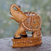 Wood statuette, 'Playful Elephant' - Hand Carved Wood Figurine Sculpture with colourful Insets