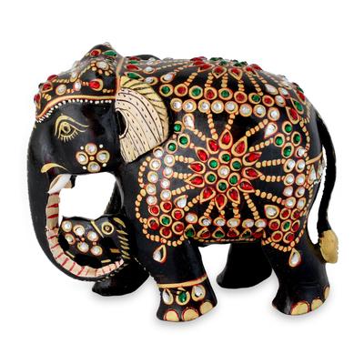 Wood statuette, 'Majestic Mama Elephant' - Bejeweled Mama Elephant Hand Crafted Statuette