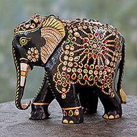 Wood sculpture, 'Majestic Elephant' - Embellished Wood Figurine Crafted by Hand