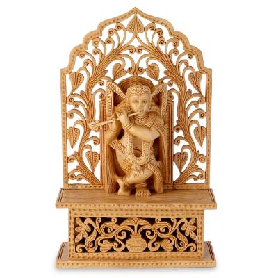 Wood sculpture, 'Krishna's Song of Love' - Hinduism Lord Sculpture Hand Carved of Wood