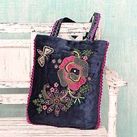 Applique shoulder bag, 'Butterfly Garden' - Velvet Applique Shoulder Bag with Embroidery and Sequins