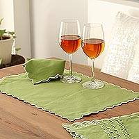 Cotton placemats and napkin set, 'Sage Holiday' (set for 6) - Green Cotton Placemats and Napkins Set for 6 from India