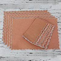 Cotton placemat and napkin set, 'Peach Holiday' (set for 6)