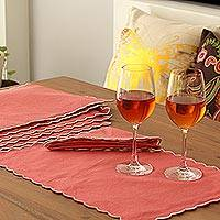 Cotton placemats and napkins, 'Rose Holiday' (set for 6) - Rose Color Scallop Edge Cotton Placemat and Napkin Set for 6
