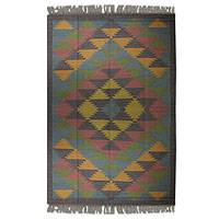 Jute rug, 'Kashmir Kaleidoscope' (6x9) - Jute Area Rug Natural Dyes Indian Dhurrie (6 x 9)