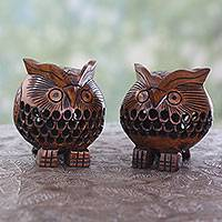 Wood figurines, 'Vigilant Owls' (pair) - Handcrafted Wood Owl Figurines from India (Pair)
