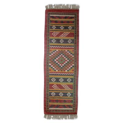 Jute runner, 'India Majesty' (2.5x8) - Handwoven Jute Dhurrie Runner with Herbal Dyes (2.5 x 8)