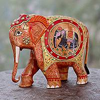Wood figurine, 'Festive Elephant' - Hand Painted Wood Elephant Figurine Sculpture from India