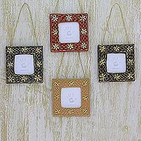 Beaded photo frame ornaments, 'Cherished Memories' (set of 4) - Photo Frame Holiday Ornaments Crafted by Hand (Set of 4)