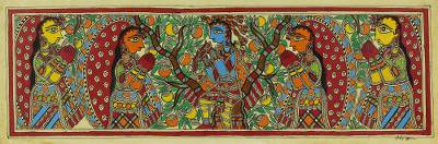 Madhubani Signed Painting with Hindu Lord Krishna
