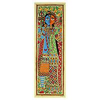 Madhubani painting, 'Ardhnareshwar II' - Madhubani Hinduism Theme Painting Signed Artwork