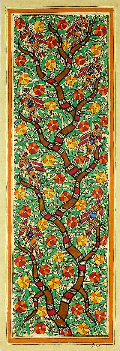 Madhubani Tree of Life Painting Signed Art Fair Trade