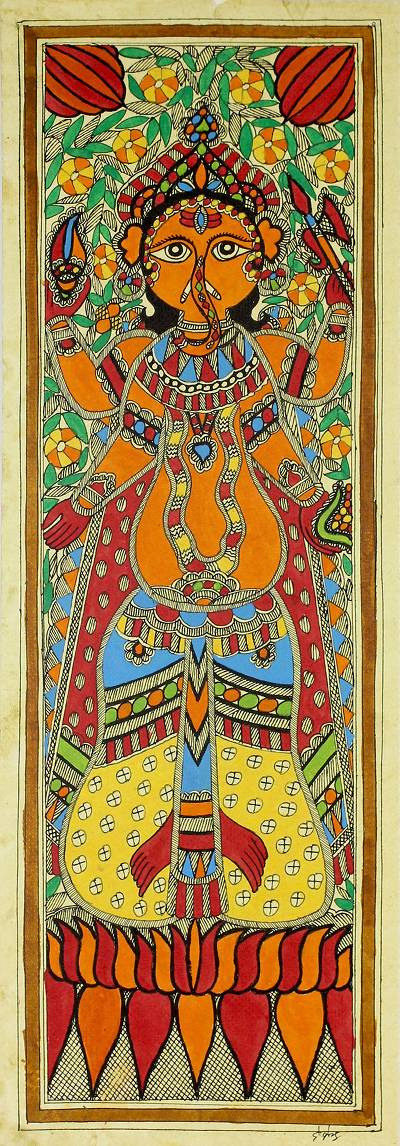 Hindu Deity Signed Madhubani Painting from India