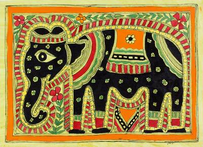 Madhubani painting, 'Majestic Elephant' - Madhubani Painting Signed Artwork on Handmade Paper