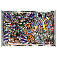 Madhubani painting, 'The Cow Herd' - Madhubani Hinduism Painting Signed Art on Handmade Paper