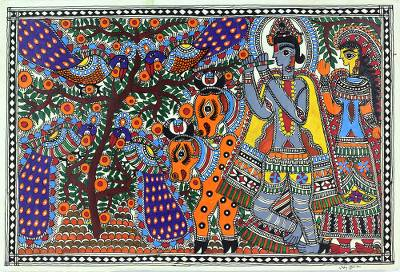 Madhubani Hinduism Painting Signed Art on Handmade Paper