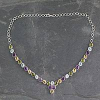 Multigem pendant.necklace, 'Cascading Colors' - Handmade Silver Necklace Four Kinds of Faceted Gems