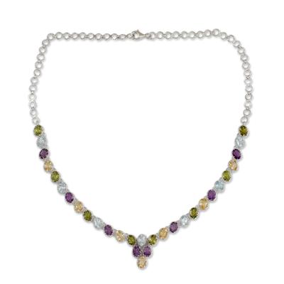 Multigem pendant.necklace, 'Cascading Colors' - Handmade Silver Necklace Four Kinds of Faceted Gems